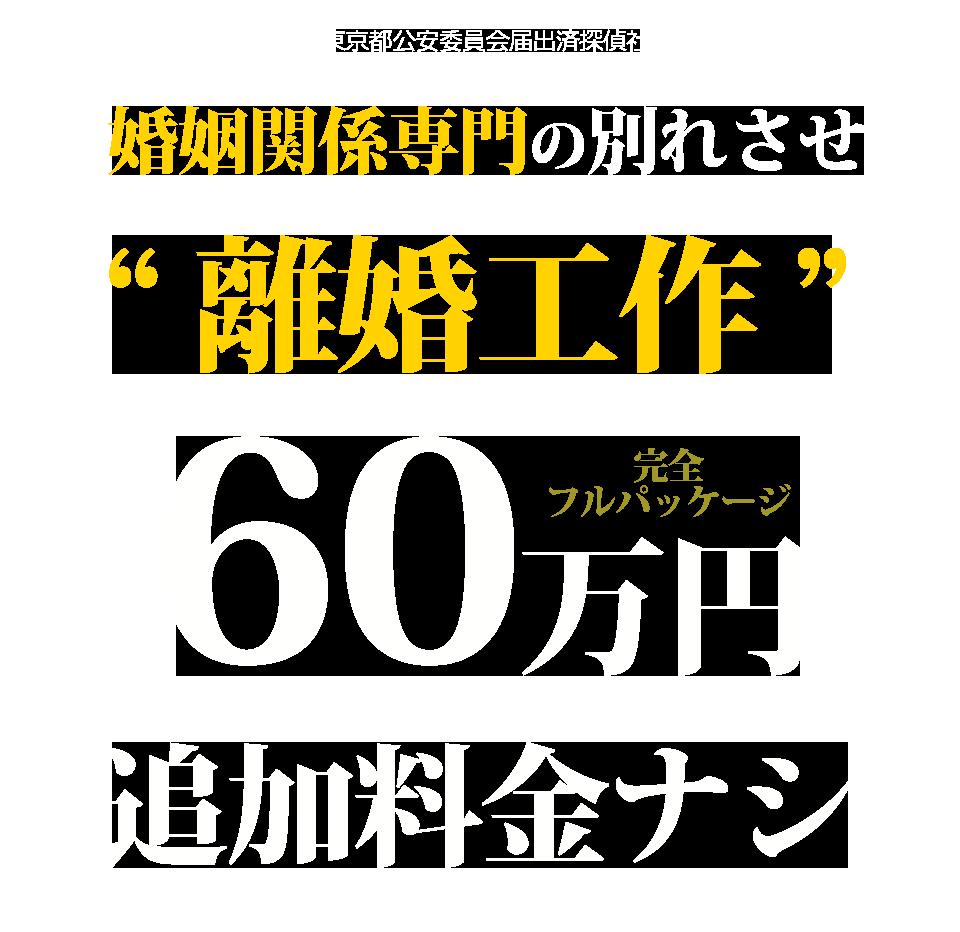 婚姻関係専門の別れさせ 離婚工作 60万円 追加料金ナシ